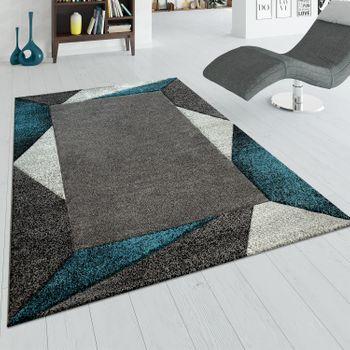 Tapis De Salon Moderne À Poils Ras Effet 3D Bordure Géométrique Turquoise Gris – Bild 1