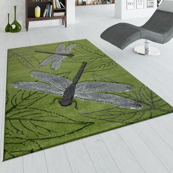 Teppich Wohnzimmer Kurzflor Grün Grau 3-D Effekt Libellen Design Blätter Muster – Bild 1