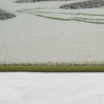 Tapis De Salon Moderne À Poils Ras Effet 3D Libellules Feuilles En Vert Crème – Bild 2