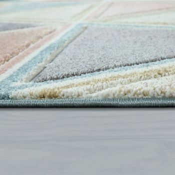 Living Room Rug Colourful Short-Pile Pastel Colours Used Effect Diamond Design Triangle  – Bild 2
