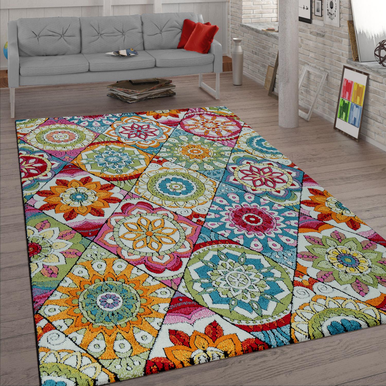 Short-Pile Rug Mandala Pattern