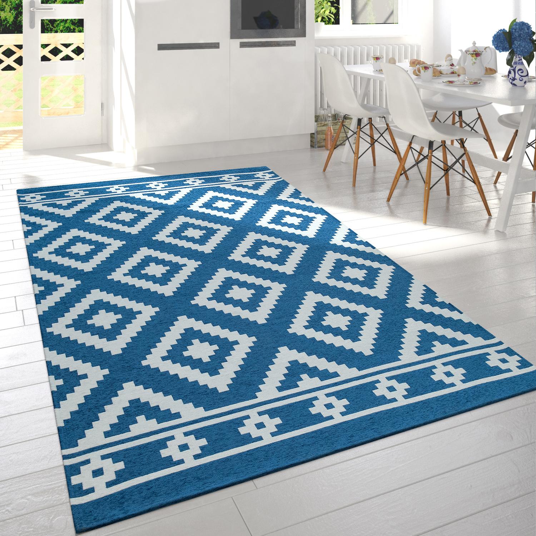 Kurzflor-Teppich Skandi-Rauten-Muster Blau Weiß