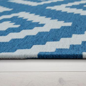 Teppich Wohnzimmer Blau Weiß Skandi Rauten Muster Baumwolle Weich Kurzflor – Bild 2
