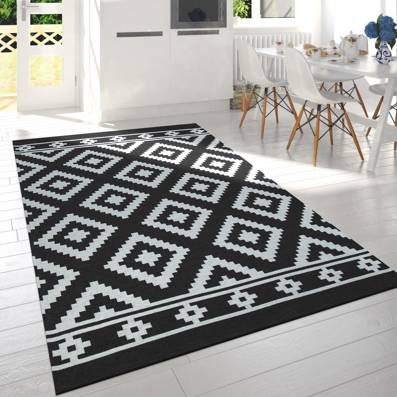 Kurzflor-Teppich Skandi Design Schwarz Weiß