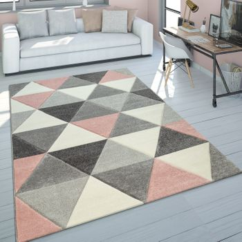 Rug Living Room Pale Pink Grey Pastel Colours 3D Design Triangle Pattern Short-Pile – Bild 1