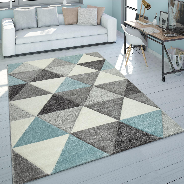 Kurzflor-Teppich Dreieck Design Türkis