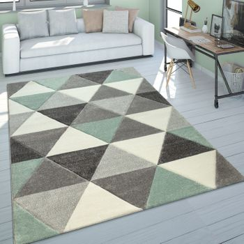 Living Room Rug Green Grey Pastel Colours Short-Pile Retro Design Triangle Pattern  – Bild 1