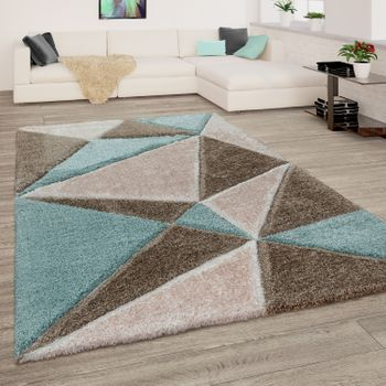 Rug Living Room Colourful Green Brown Soft Shaggy Fluffy 3D Abstract Deep-Pile  – Bild 1