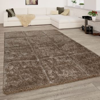 Deep-Pile Rug Check Pattern Beige