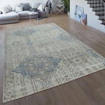 Vintage Rug Cream Beige Living Room Short-Pile Ethnic Design 3D Boho Pattern – Bild 1