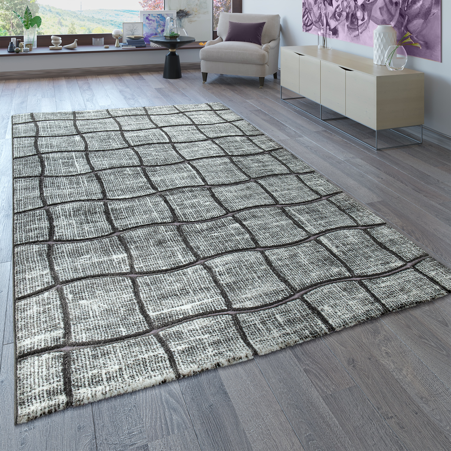 Designer Rug Living Room Grey Anthracite 3D Check Pattern Abstract Short-Pile