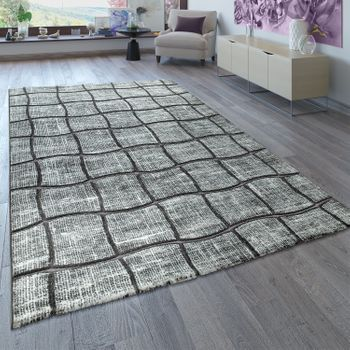 Short-Pile Rug Check Pattern Grey Anthracite