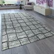 Short-Pile Rug Check Pattern Grey Anthracite 001