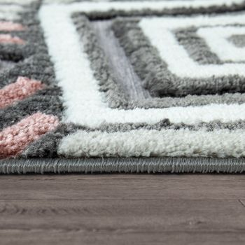 Short-Pile Rug Living Room Grey White Pink Check Pattern Abstract Design 3D – Bild 2