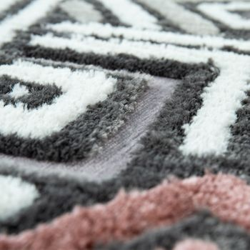 Short-Pile Rug Living Room Grey White Pink Check Pattern Abstract Design 3D – Bild 3