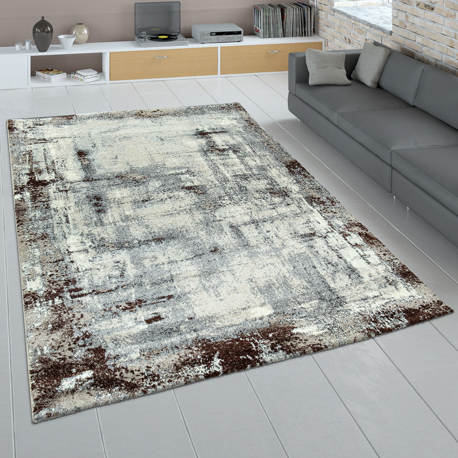 Rug Living Room Grey Brown Used Look Abstract Painting Design