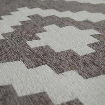 Tapis De Salon Moderne Poils Ras Design Scandinave Motif Losanges Gris Blanc – Bild 3