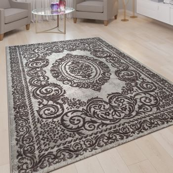 Short-Pile Living Room Rug 3D Effect Embellishments Border Oriental Pattern In Grey  – Bild 1