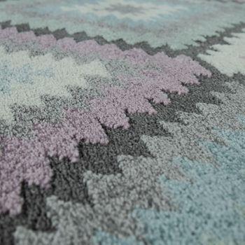 Rug Colourful Living Room Diamond Pattern Retro Design 3D Look Pastel Short-Pile – Bild 3