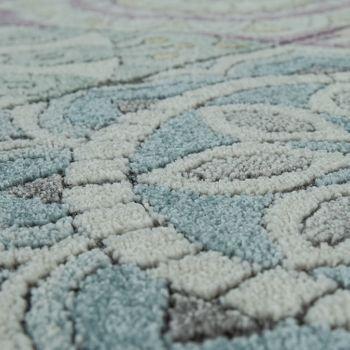 Retro Rug Colourful Living Room Diamond Pattern Boho Style Floral Design 3D Short-Pile – Bild 3