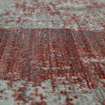 Tapis À Poils Ras Rouge Beige Salon Abstrait Design Carreaux Style Usé Quadrilatère – Bild 3