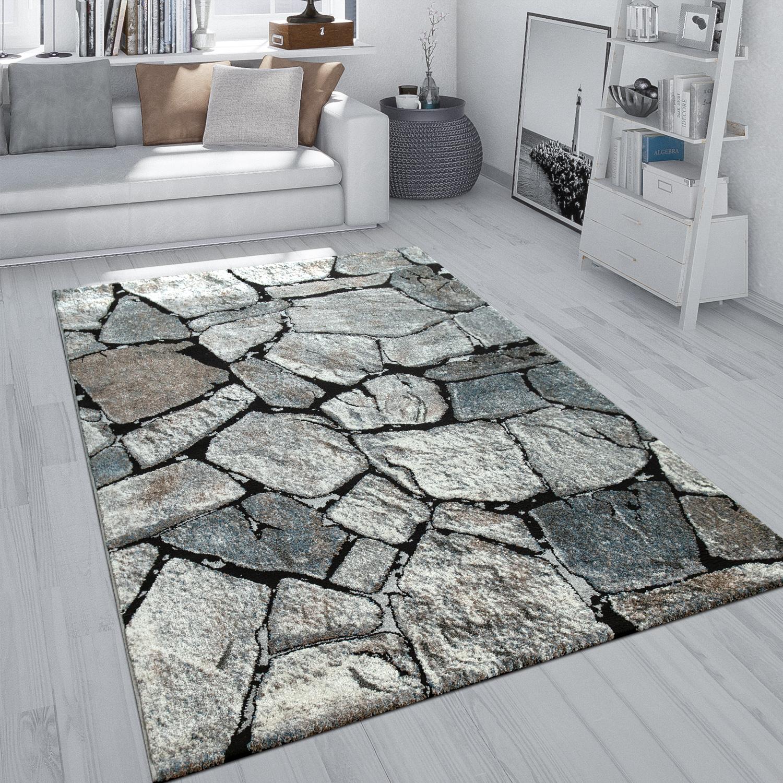 Details zu Teppich Grau Wohnzimmer Weich Robust Stein Motiv Fels Muster  3-D-Effekt Kurzflor