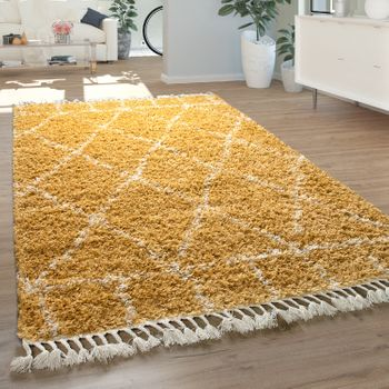 Deep-Pile Rug Soft Berber Pattern Yellow