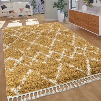 Ethnic Rug Yellow Deep-Pile Shaggy Diamond Pattern Berber Style Hard-Wearing – Bild 1