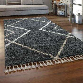 Tapis Salon Gris Poils Longs Design Losanges Style Scandinave Shaggy À Franges – Bild 1