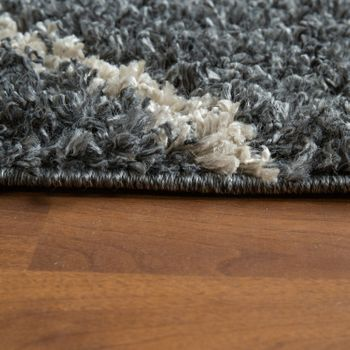 Tapis Salon Gris Poils Longs Design Losanges Style Scandinave Shaggy À Franges – Bild 2