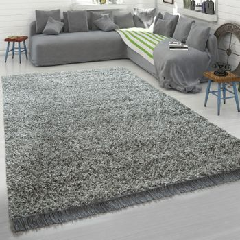 Grey Rug Living Room Deep-Pile Shaggy Soft Robust Hard-Wearing Cosy – Bild 1