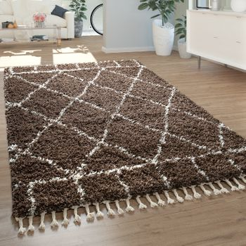 Berber Rug Oriental Design Diamond Pattern Brown