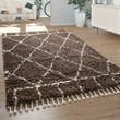 Berber Rug Oriental Design Diamond Pattern Brown 001