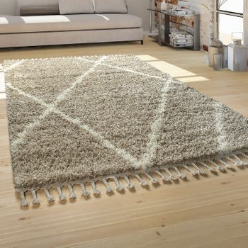 Shaggy Rug Beige Living Room Deep-Pile Cream Soft Scandi Pattern Robust – Bild 1
