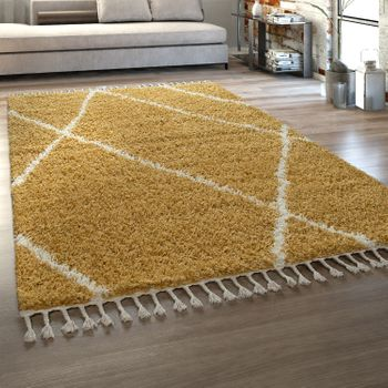 Deep-Pile Rug Yellow Living Room Fringed Shaggy Scandinavian Diamond Pattern – Bild 1