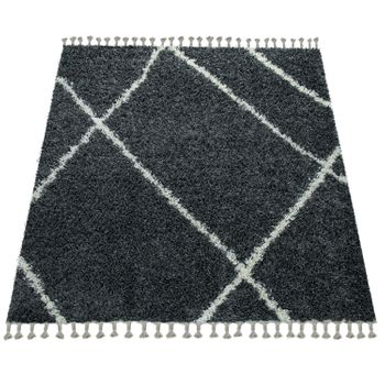 Tapis Shaggy Gris Salon Poils Longs  Motif Losanges Design Scandinave À Franges – Bild 4