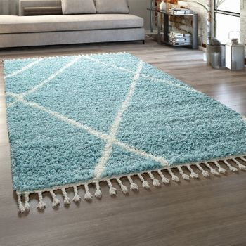 Deep-Pile Rug Living Room Turquoise Pastel Colours Diamond Pattern Design Shaggy – Bild 1