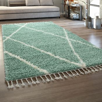 Living Room Rug Green Deep-Pile Scandi Design Diamond Pattern Shaggy Fringes – Bild 1