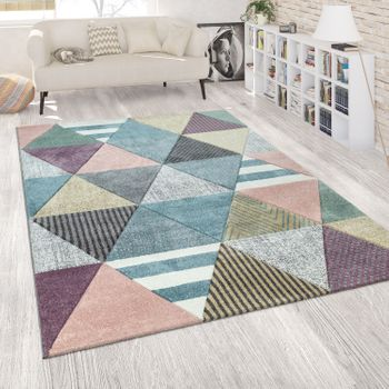 Tapis Coloré Salon Couleurs Pastel Coloris Pastel Motif Diamants Design 3D Design Happy design – Bild 1