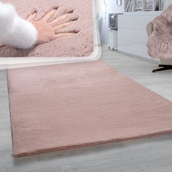 Shaggy Rug Living Room Pink Bedroom Deep-Pile Faux Fur Fluffy Soft – Bild 1