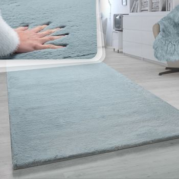 Shaggy Rug Turquoise Soft Living Room Deep-Pile Shaggy Faux Fur Robust Fluffy – Bild 1