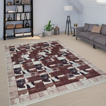 Patchwork Rug Brown White Living Room Cowhide Checked Design Soft Short-Pile – Bild 1