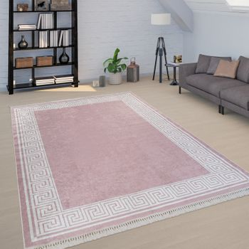 Tapis Motif Méandres Bordure Rose