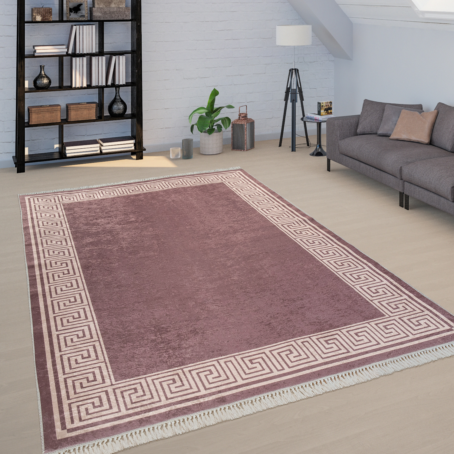 Rug Brown Beige Living Room Border Fretwork Design Hard-Wearing Short-Pile