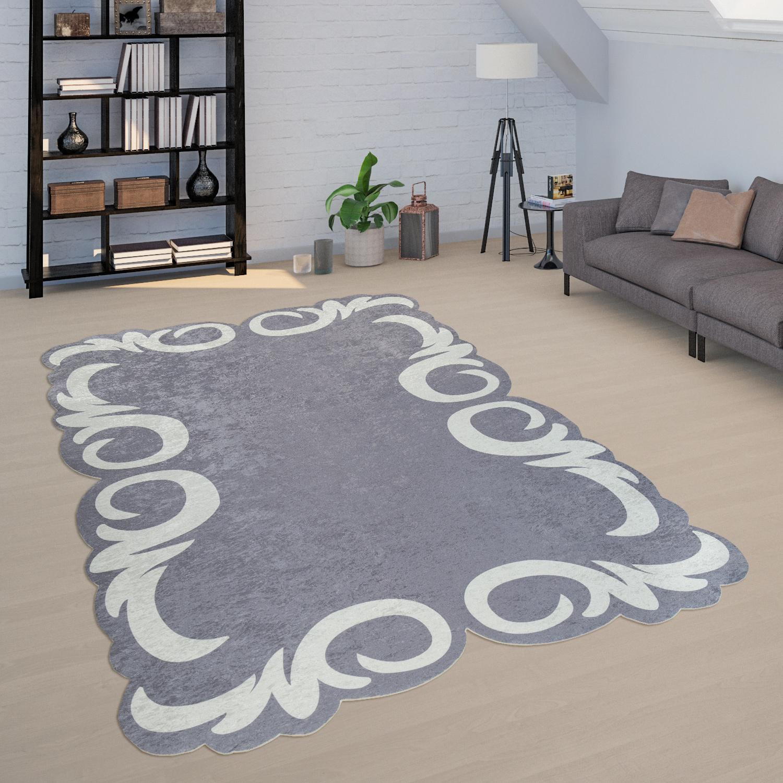 Wohnzimmer-Teppich Blumen-Bordüre Grau Weiß
