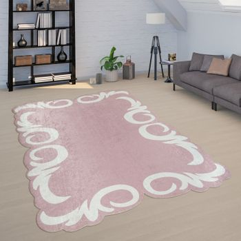 Rug Living Room Pink White Soft Pastel Colours Floral Border Short-Pile – Bild 1