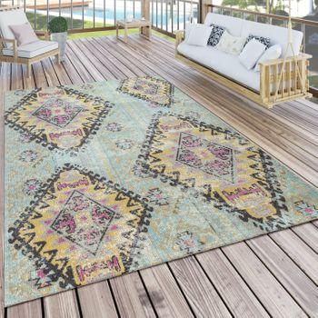 Outdoor Carpet Turquoise Balcony Terrace Diamonds Orient Pastel Colours Robust Soft – Bild 1