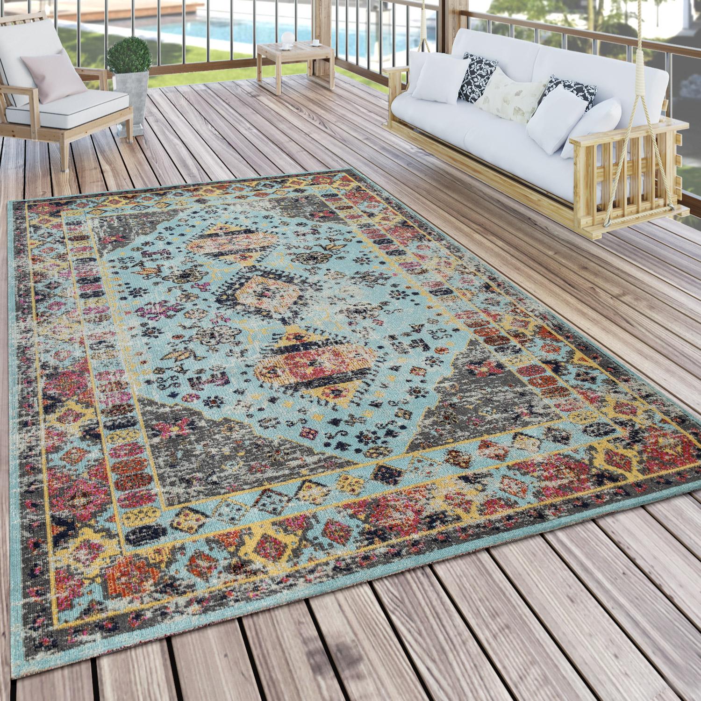 Outdoor-Teppich Orient-Design Türkis Blau