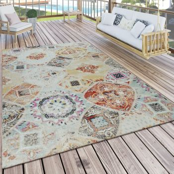 Tappeto all'aperto colorato Balcone Terrazza Diamonds Pattern Orient Flowers design all'aperto Terrazza diamanti robusto – Bild 1