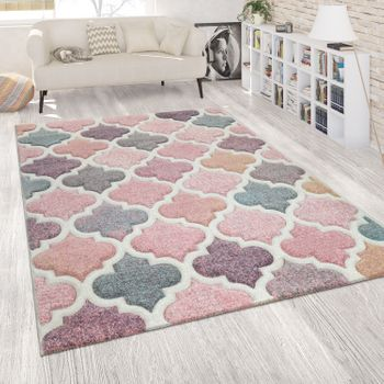 Carpet Moroccan Pattern Pink Colorful